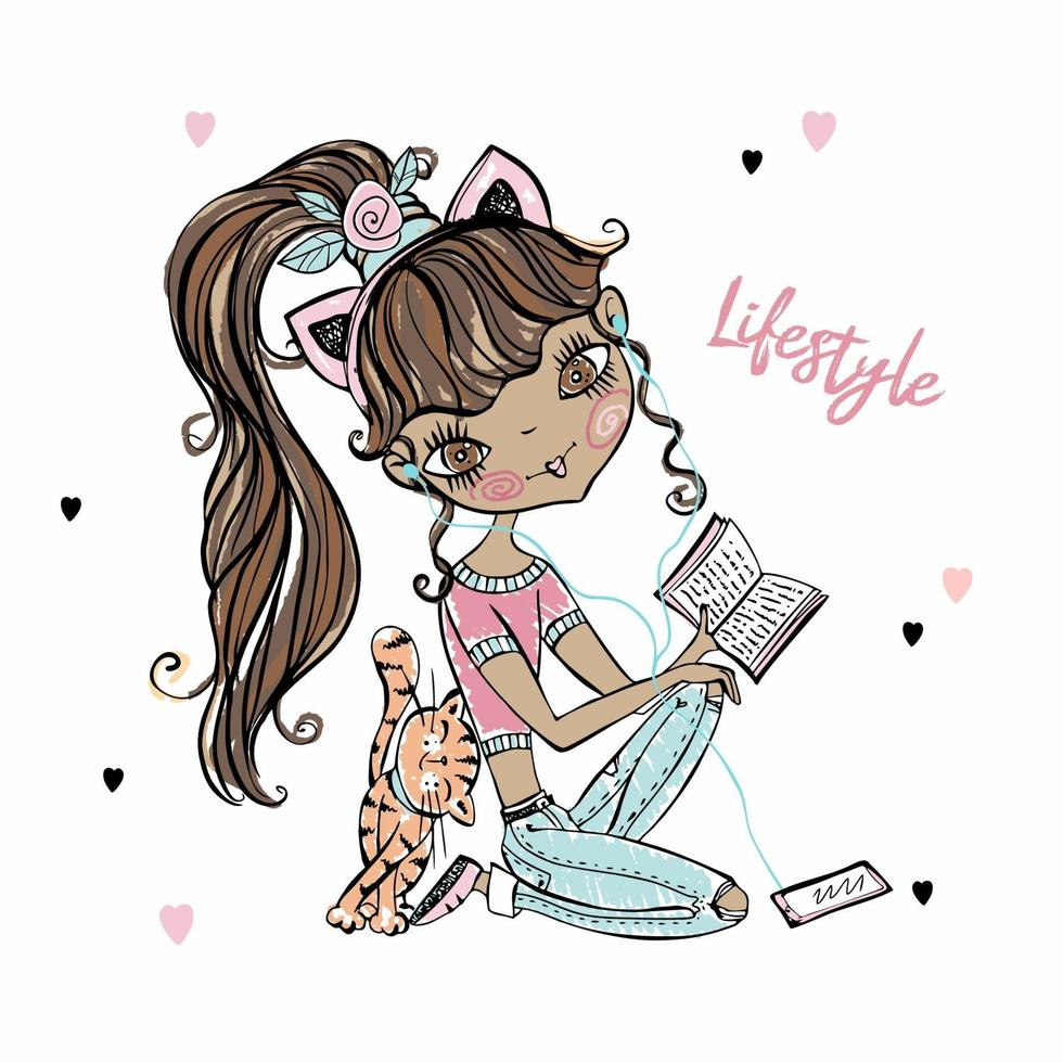 Cute fashionista dark-skinned teenage girl with a cat resting at home with a player and a book. Vector. vector