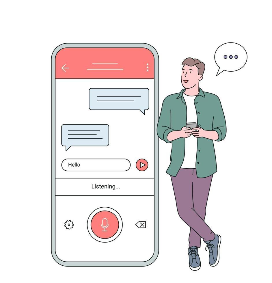 reconocimiento de voz, concepto de reconocimiento de voz. Hombre sujetando el teléfono inteligente hablar con un amigo en el altavoz que tiene una conversación agradable vector
