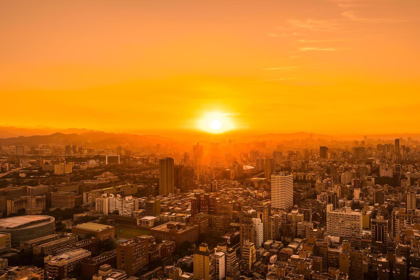 Cityscape of Taipei, Taiwan, at sunset photo