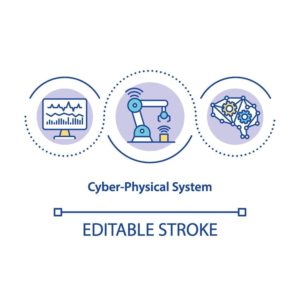 Cyber-physical system concept icon vector