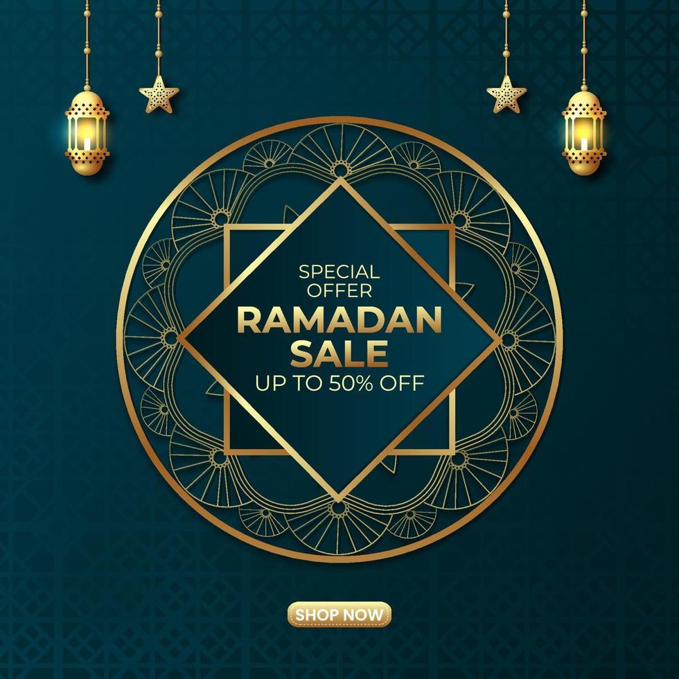 diseño de banner de anuncios de venta de Ramadán vector