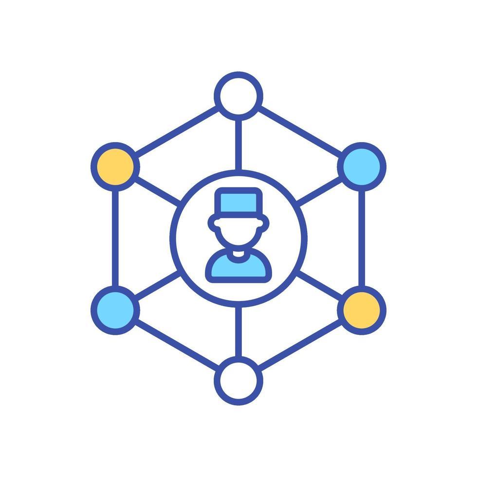Network of doctors RGB color icon vector