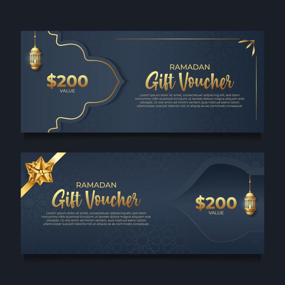 Ramadan gift voucher with golden style vector
