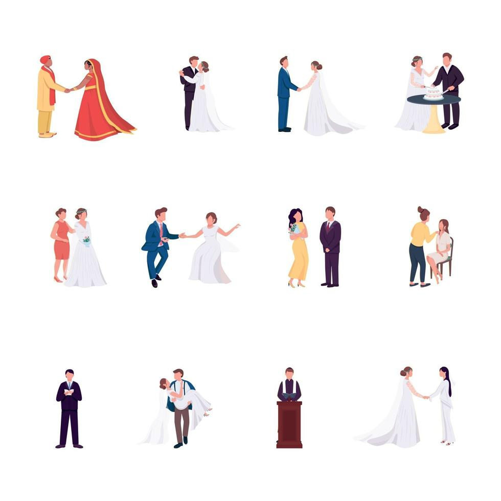 Wedding ceremony flat color vector faceless characters set