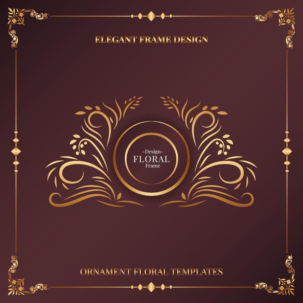 golden decorative floral frame background vector