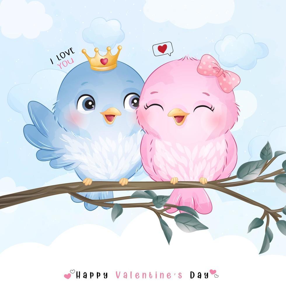 lindos pájaros doodle para el día de san valentín vector