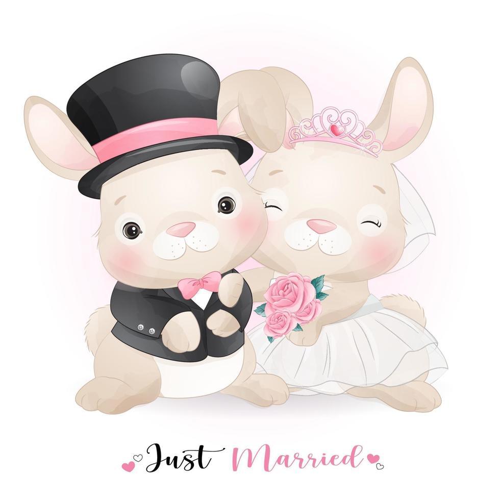 lindo conejito doodle con ropa de boda para el día de san valentín vector