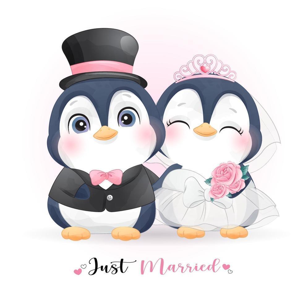 lindo pingüino doodle con ropa de boda para el día de san valentín vector