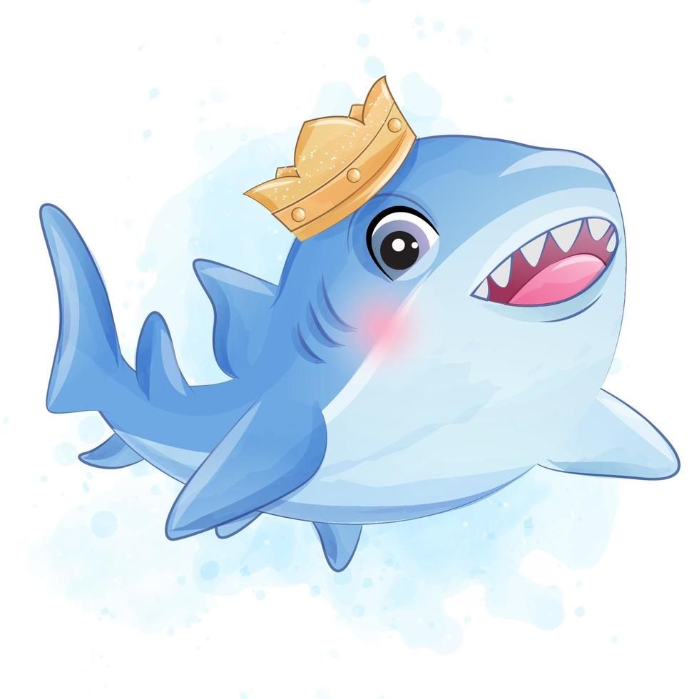 Cute little shark with watercolor illustration vector