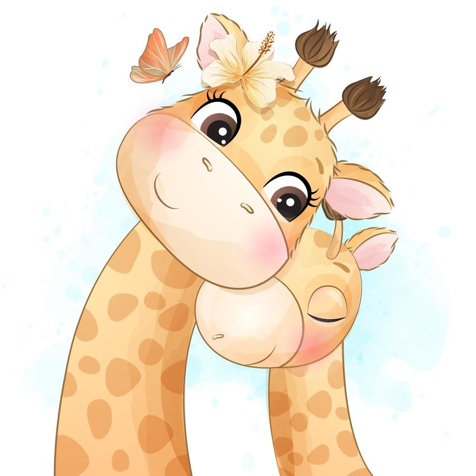 Cute little giraffe mother and baby illustration vector