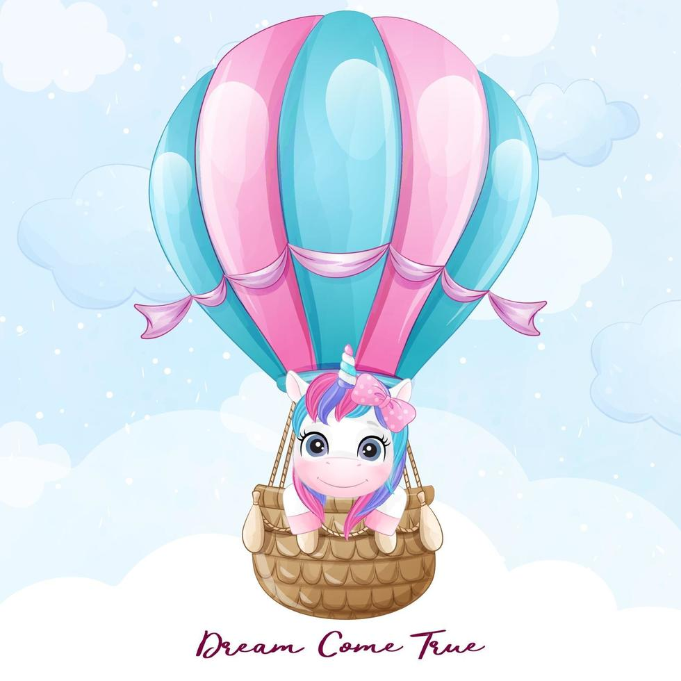Cute doodle unicorn flying with air balloon illustration vector