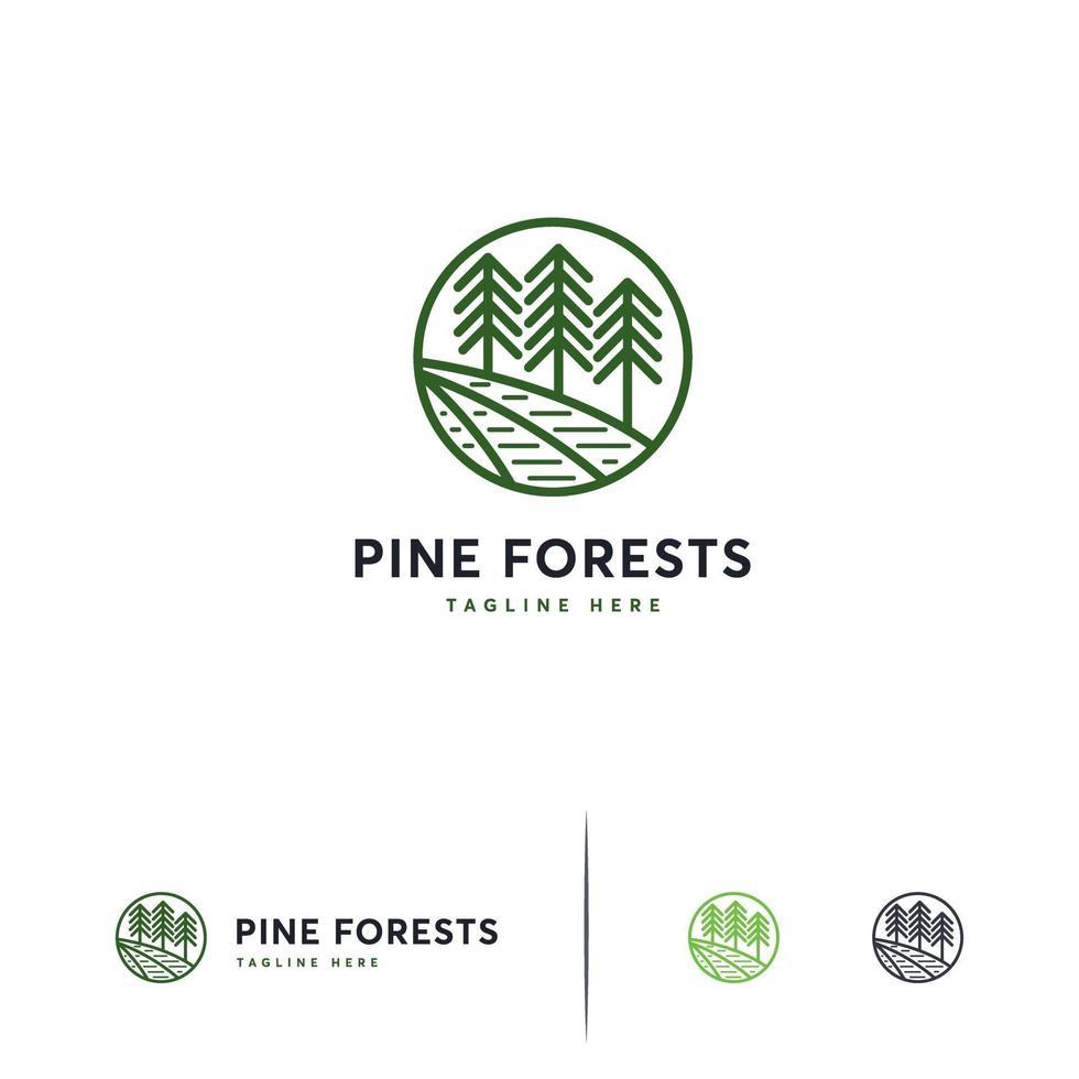 Pine forest logo line art, Iconic Pine tree logo vector