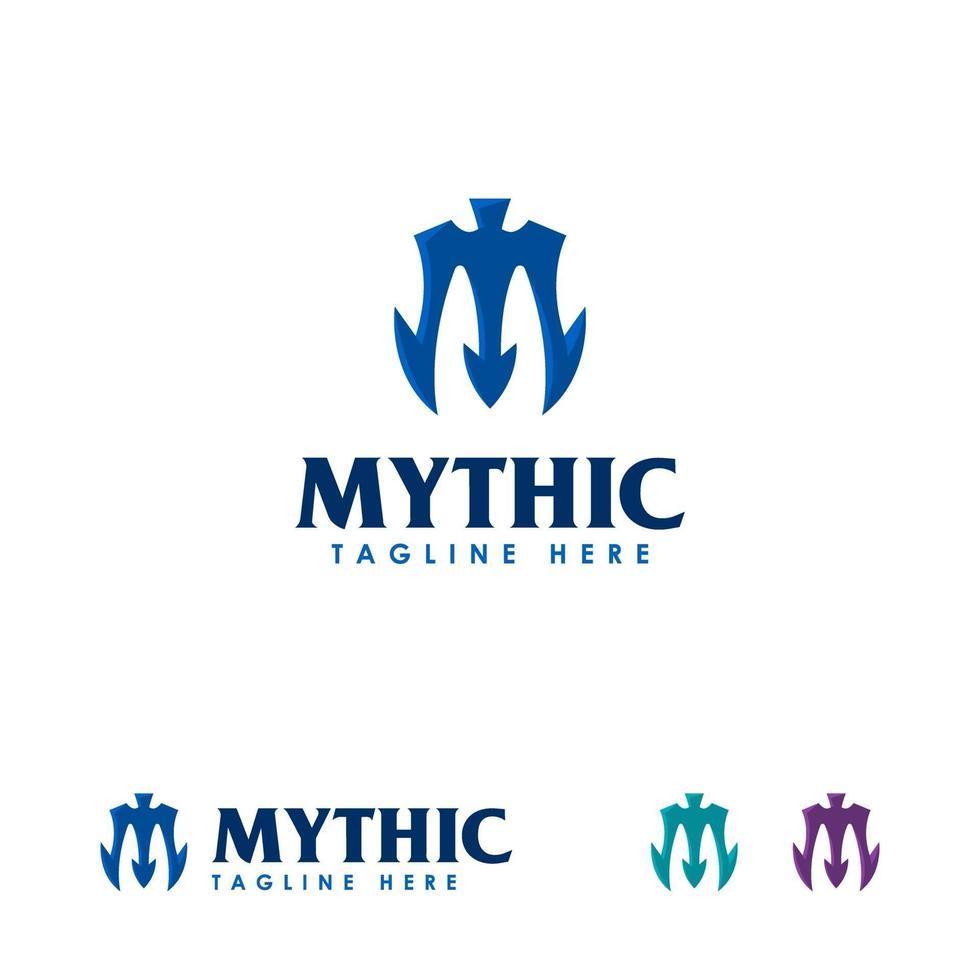 plantilla de diseños de logotipo mítico, símbolo de diseños de logotipo tridente, símbolo de logotipo de lanza vector