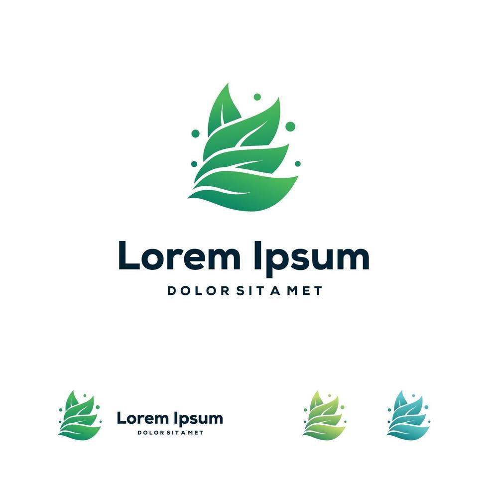vector de concepto de símbolo de hoja de logotipo orgánico, plantilla de diseños de logotipo de naturaleza