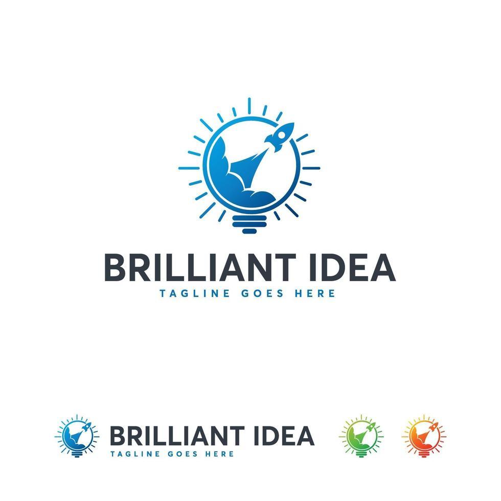 idea brillante diseño de logotipos vector de concepto, símbolo de logotipo de bombilla de idea rápida