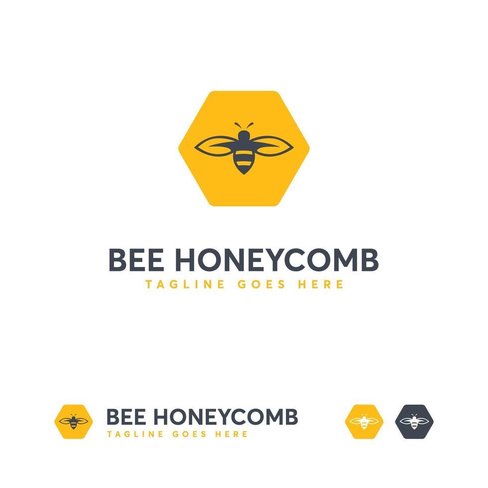 plantilla de diseños de logotipo de abeja, vector de concepto de diseños de logotipo de panal