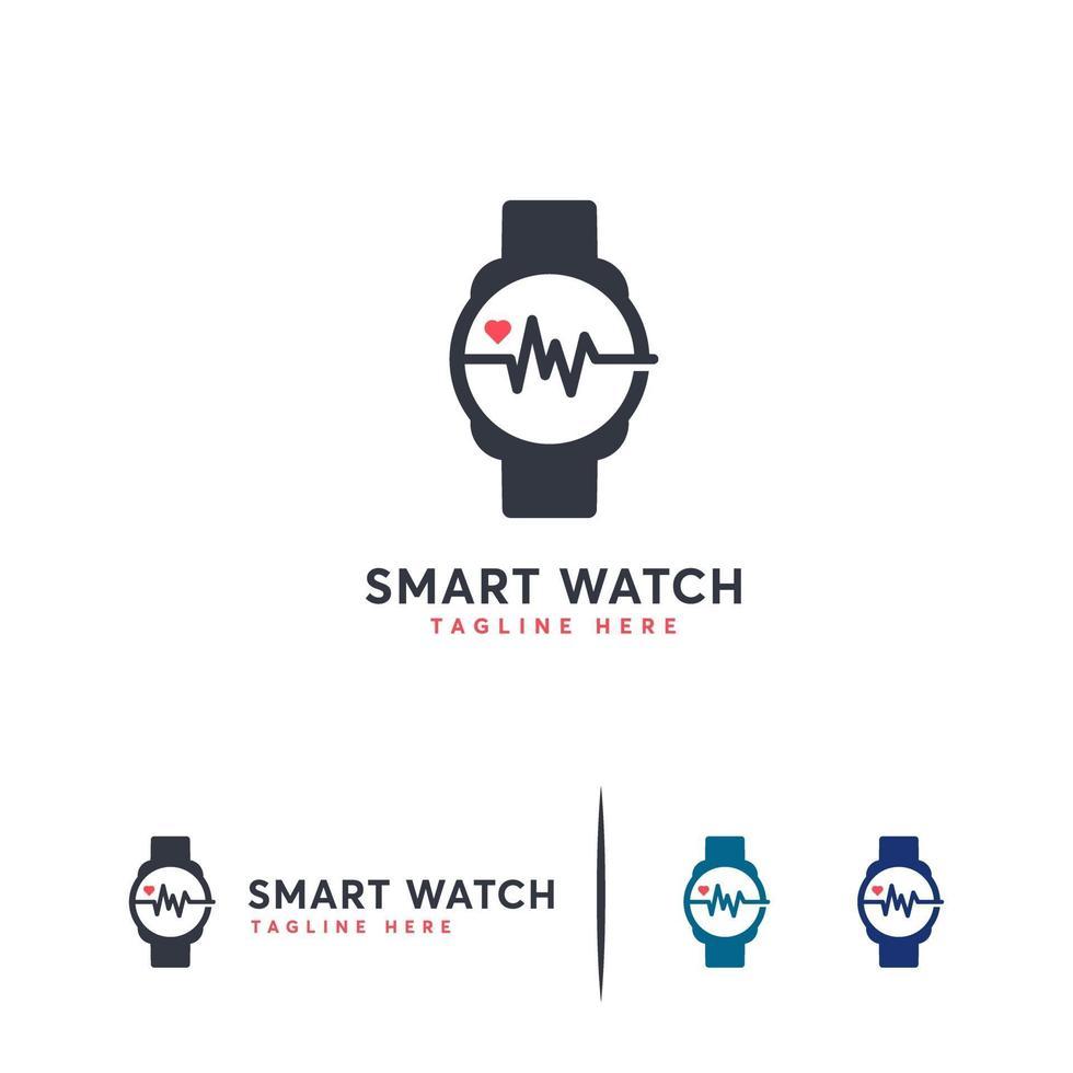 vector de concepto de diseños de logotipo de reloj inteligente, plantilla de símbolo de logotipo de reloj de salud