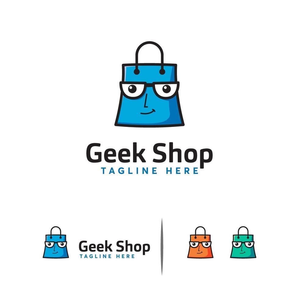 logotipo de la tienda geek, vector de concepto de diseños de logotipo de bolsa de compras