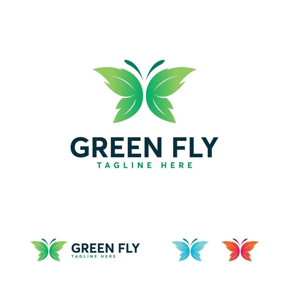 concepto de símbolo de diseños de logotipo de mosca verde, símbolo de logotipo de mariposa vector