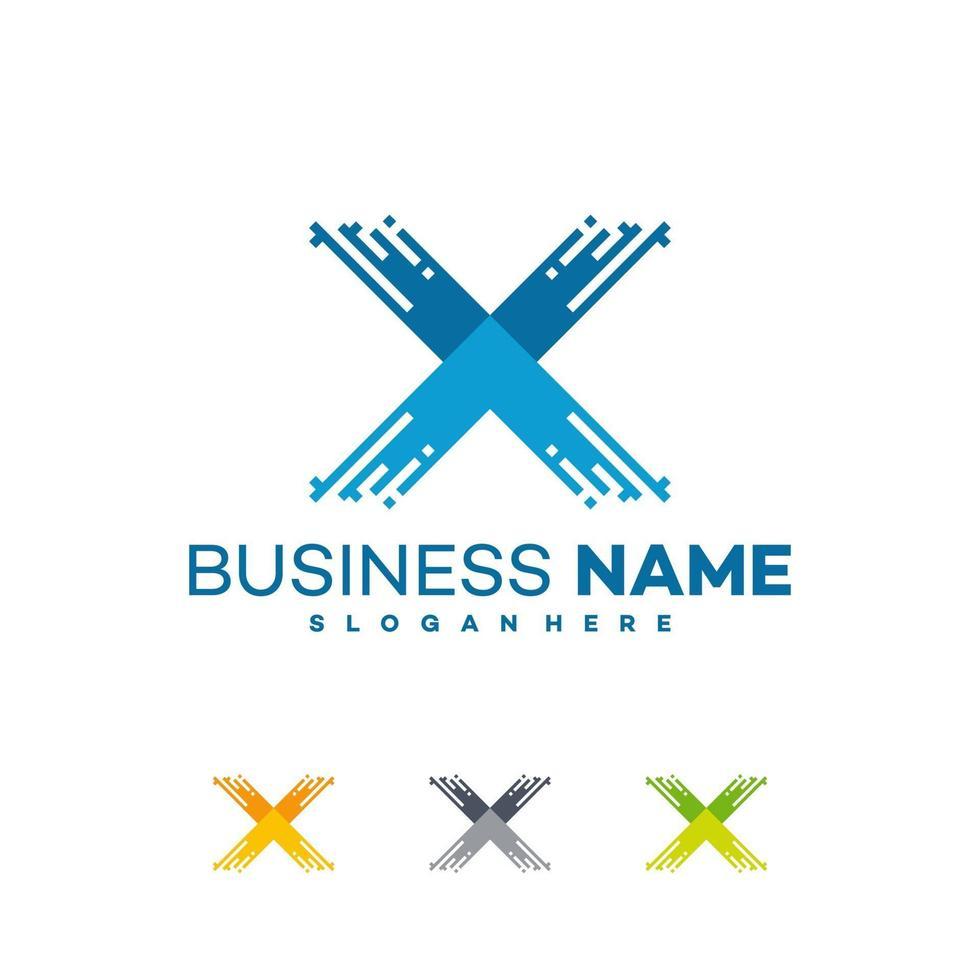 Pixel x diseños de logotipos iniciales, símbolo de logotipo empresarial rápido x vector