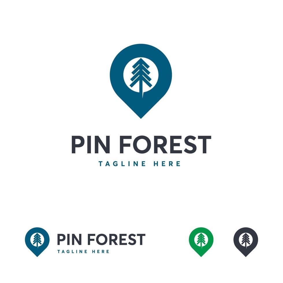 Pin diseños de logotipos de bosques, plantilla de logotipos de viajes forestales vector