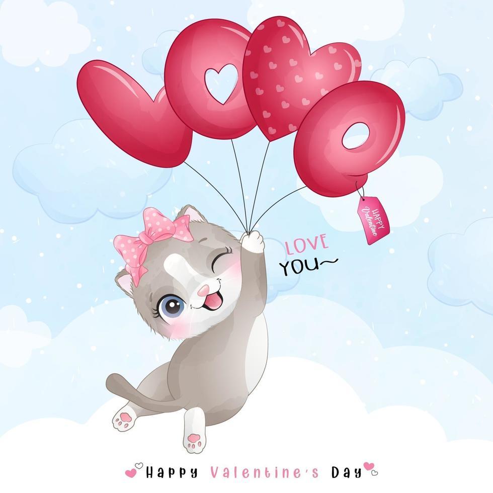 lindo gatito doodle para el día de san valentín vector