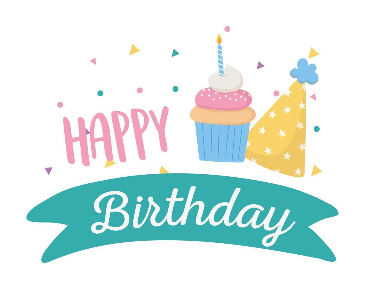 feliz cumpleaños, gorro de fiesta y cupcake con vela vector