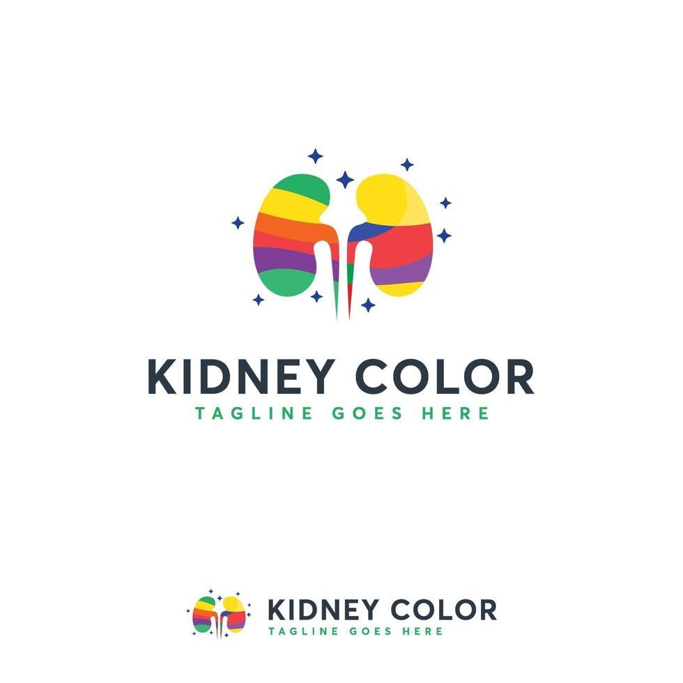 vector de concepto de diseños de logotipo de color de riñón, logotipo de riñón colorido, plantilla de logotipo de cuidado de riñón