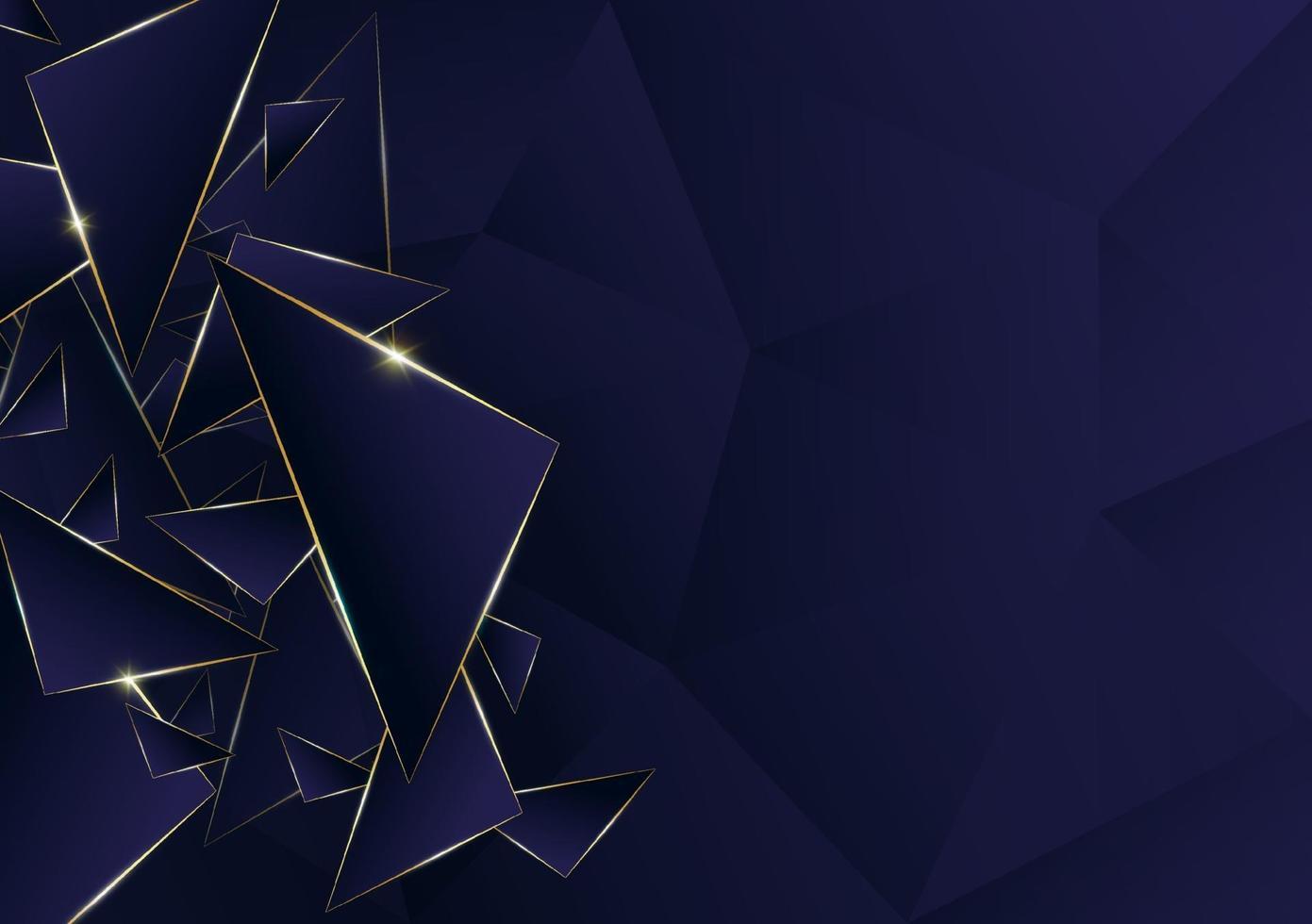 Línea dorada de lujo de patrón poligonal abstracto con fondo de plantilla azul oscuro. estilo premium para póster, portada, impresión, obra de arte. ilustración vectorial vector
