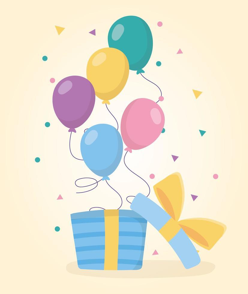 globos de feliz cumpleaños saliendo de una caja de regalo abierta celebración vector
