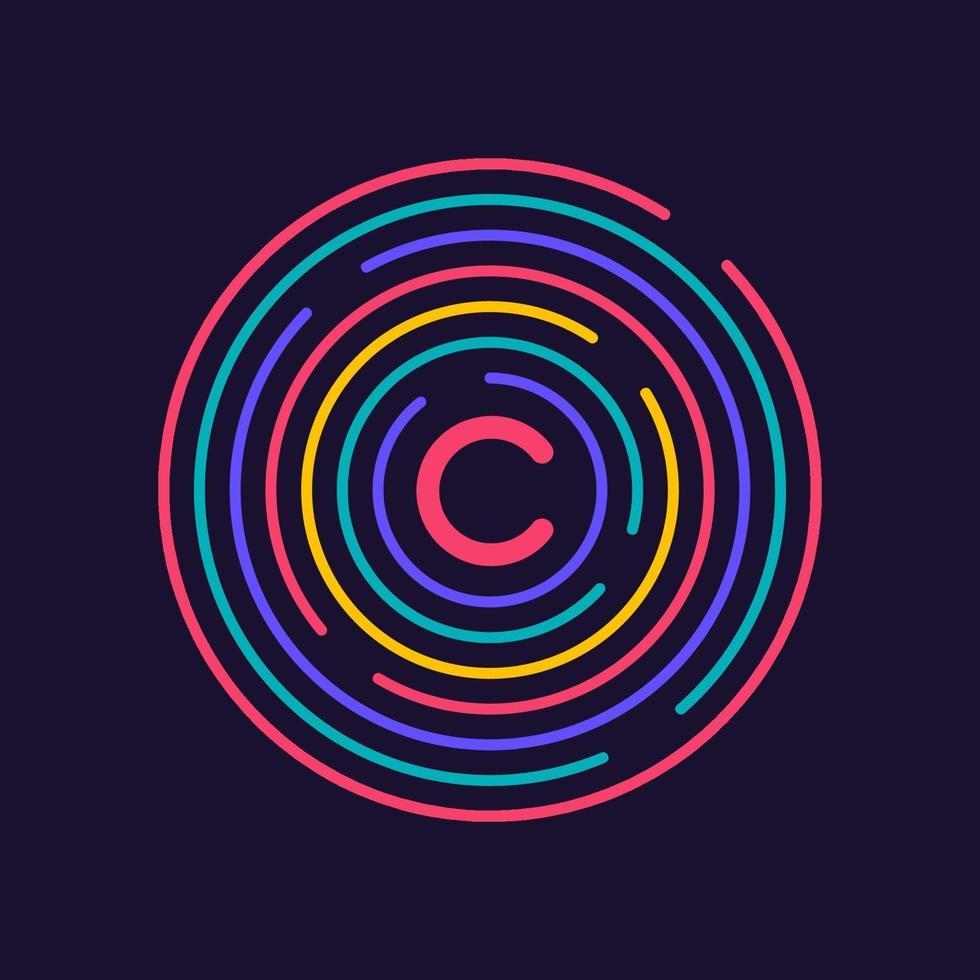 diseño de icono de conexión creativa. datos de red circular. conexión de línea y punto de estructura geométrica. ilustración vectorial vector