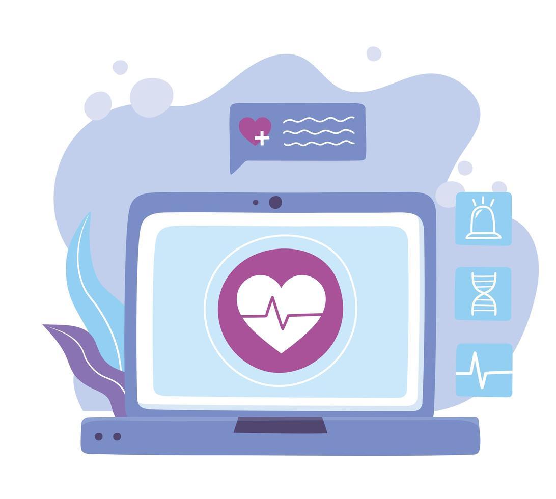 banner de diagnóstico en línea con laptop vector