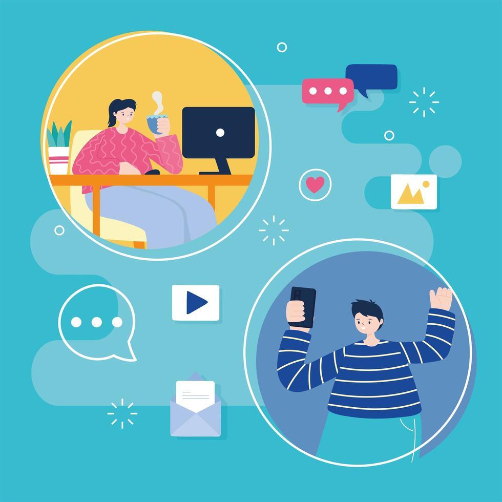 mujer joven y hombre en las redes sociales vector