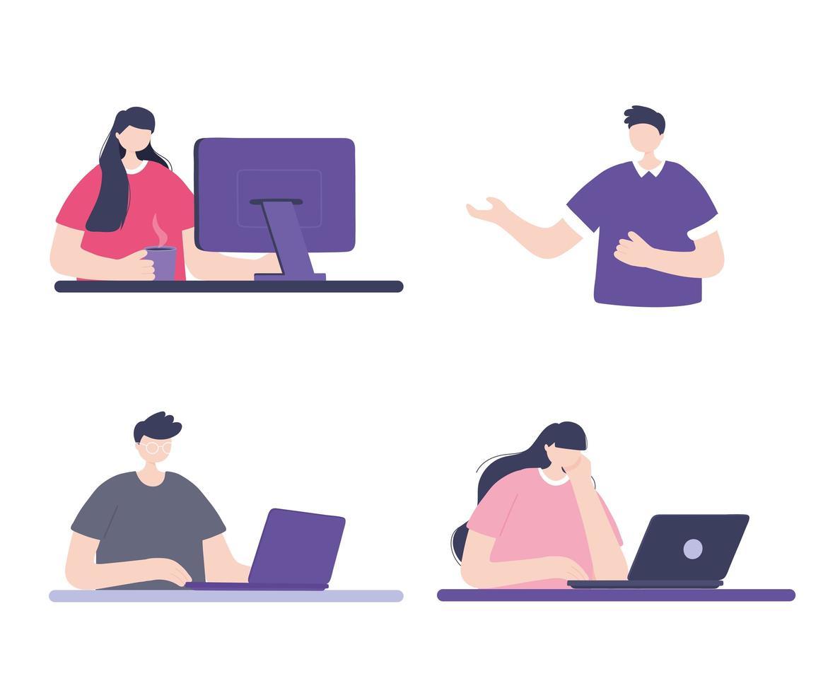 formación online con personas vector
