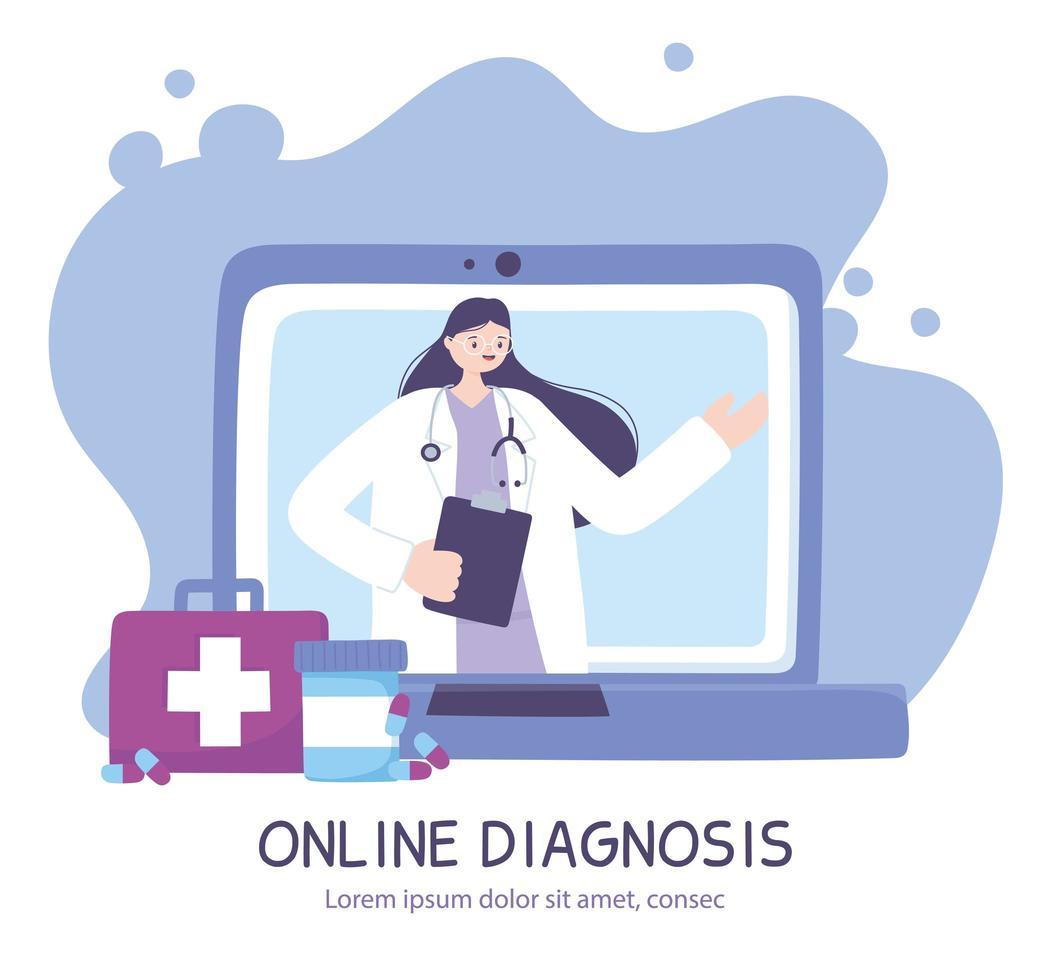 Banner de diagnóstico en línea con médico y portátil. vector