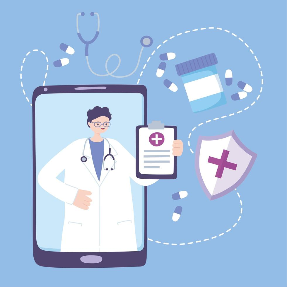 concepto de telemedicina con médico en el teléfono inteligente vector