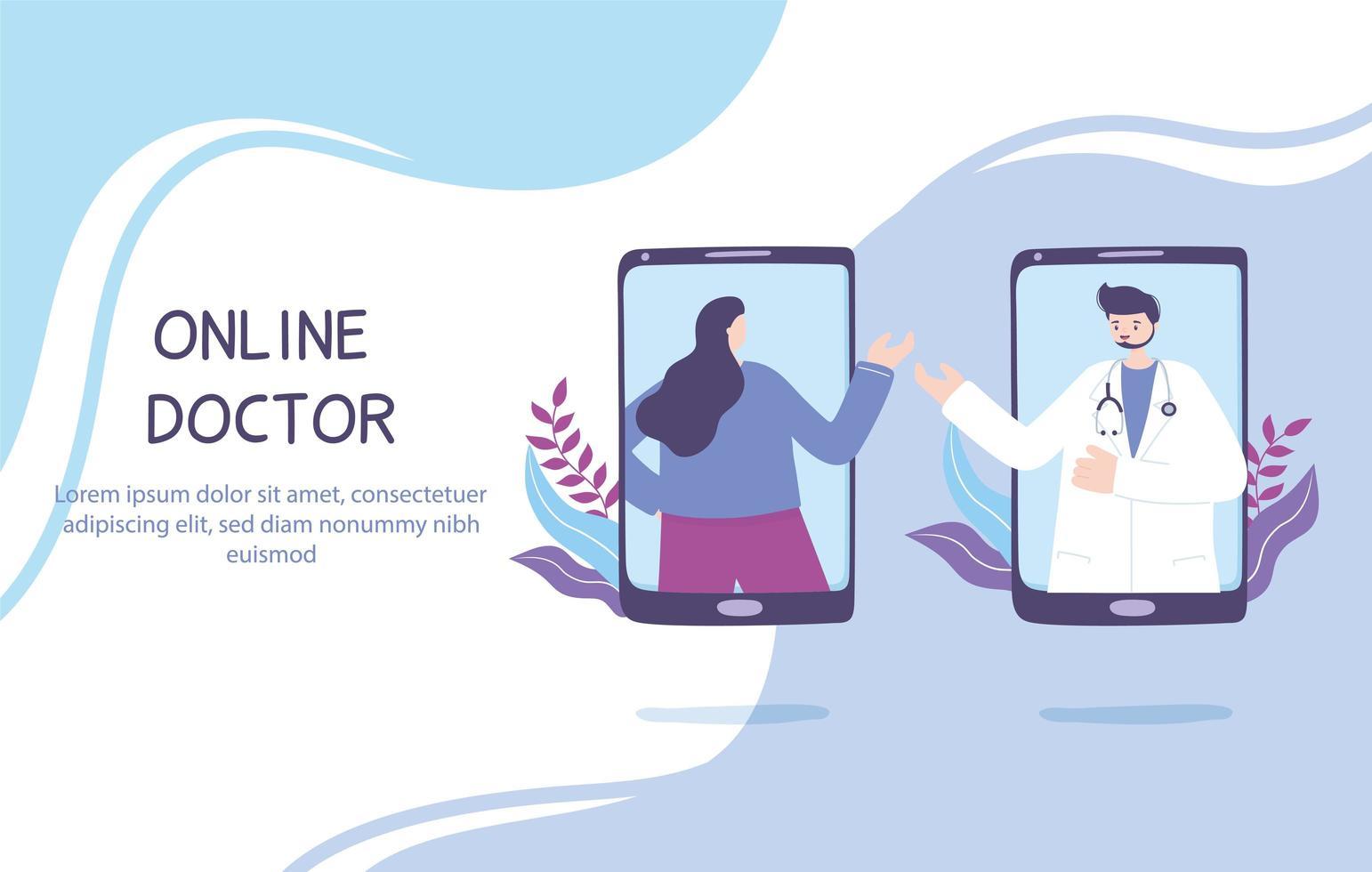 concepto de telemedicina con médico y paciente en el teléfono inteligente vector