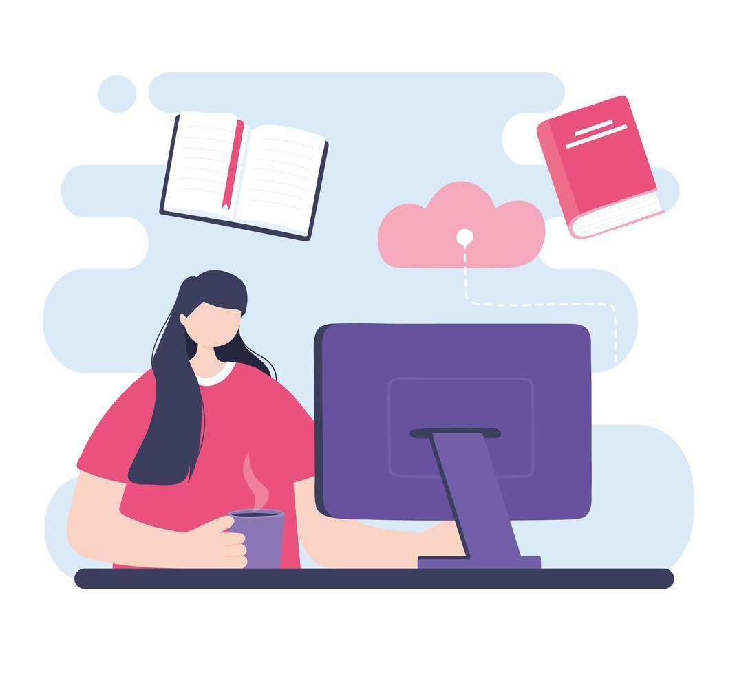 entrenamiento en línea con niña estudiando en la computadora vector