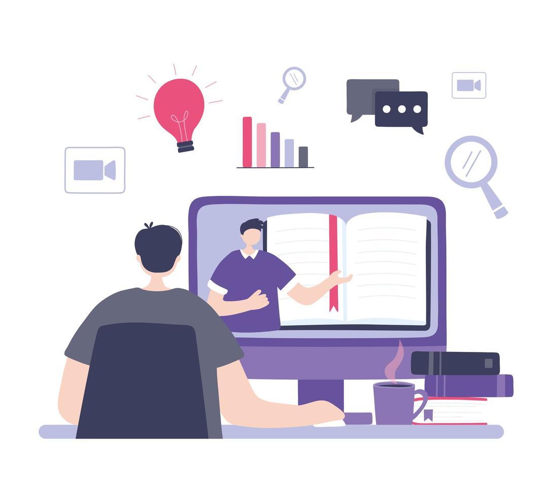 formación online con hombre viendo un curso vector
