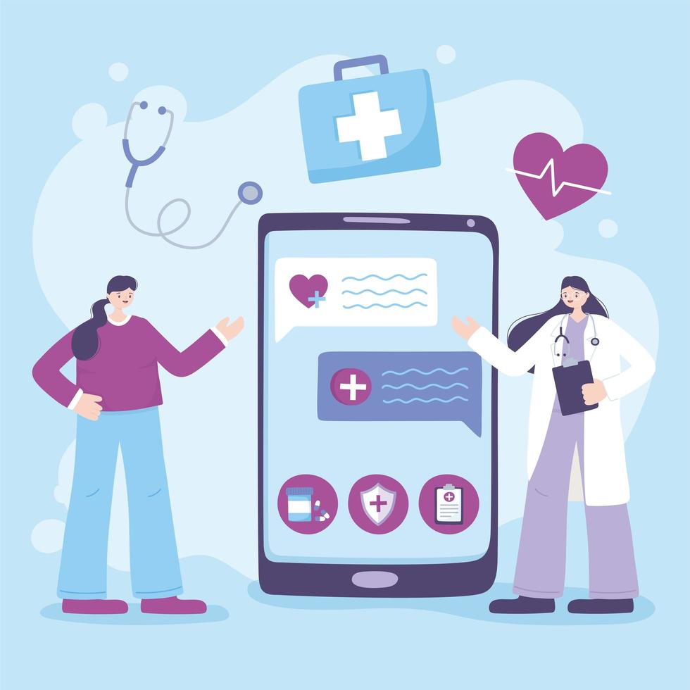 concepto de telemedicina con médico y paciente con un teléfono inteligente vector