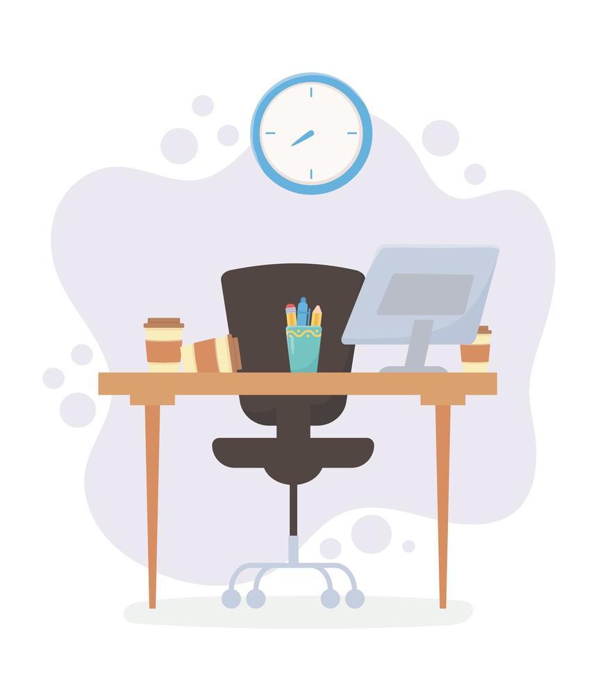 oficina espacio de trabajo escritorio silla computadora taza de café y estrés vector