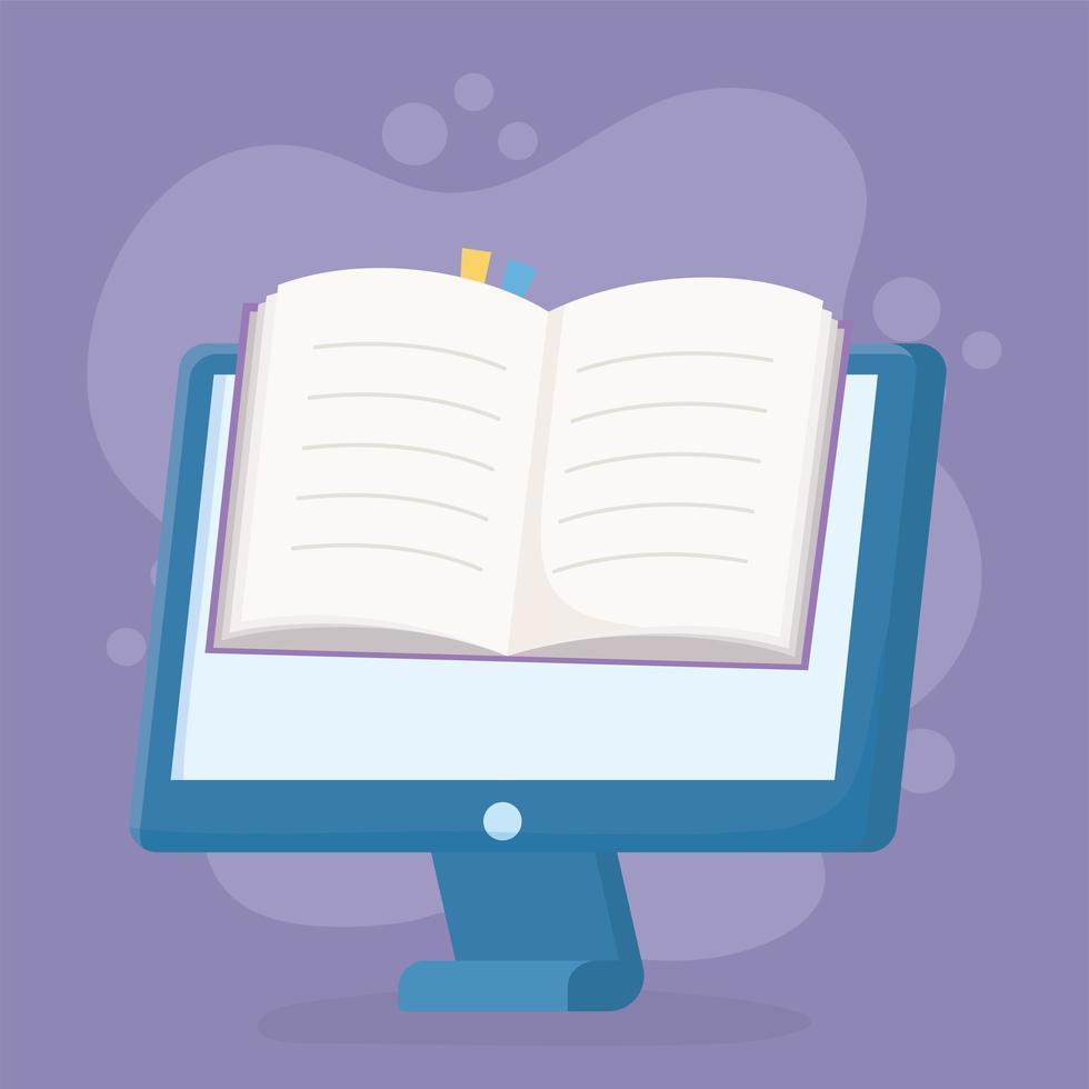 educación en línea con computadora y libro vector
