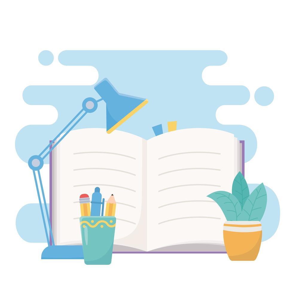 libro abierto con lámpara y suministros. vector