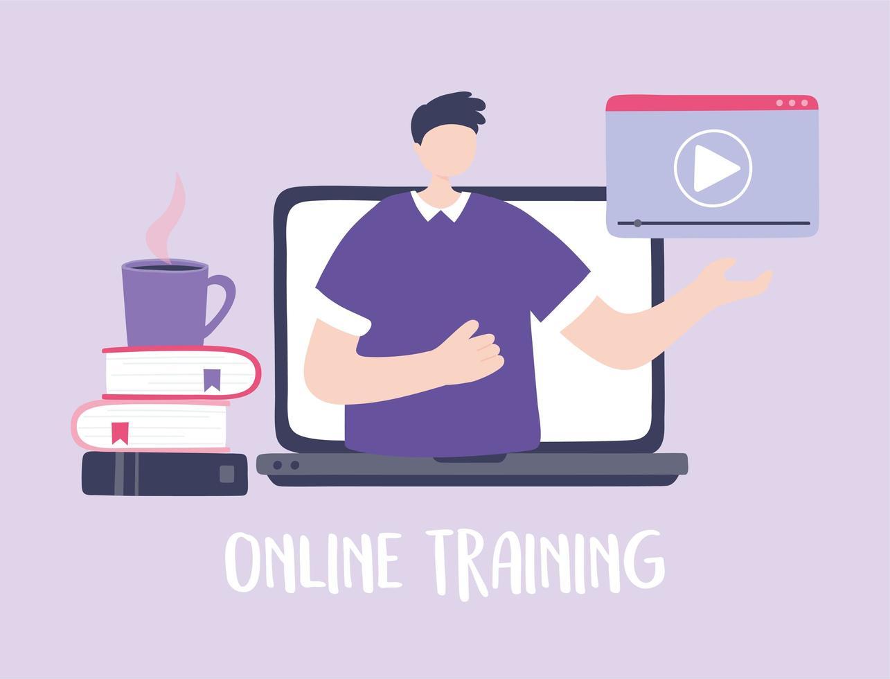 entrenamiento en línea con hombre en la computadora portátil vector