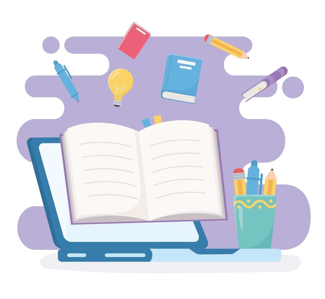 educación en línea con computadora y suministros vector