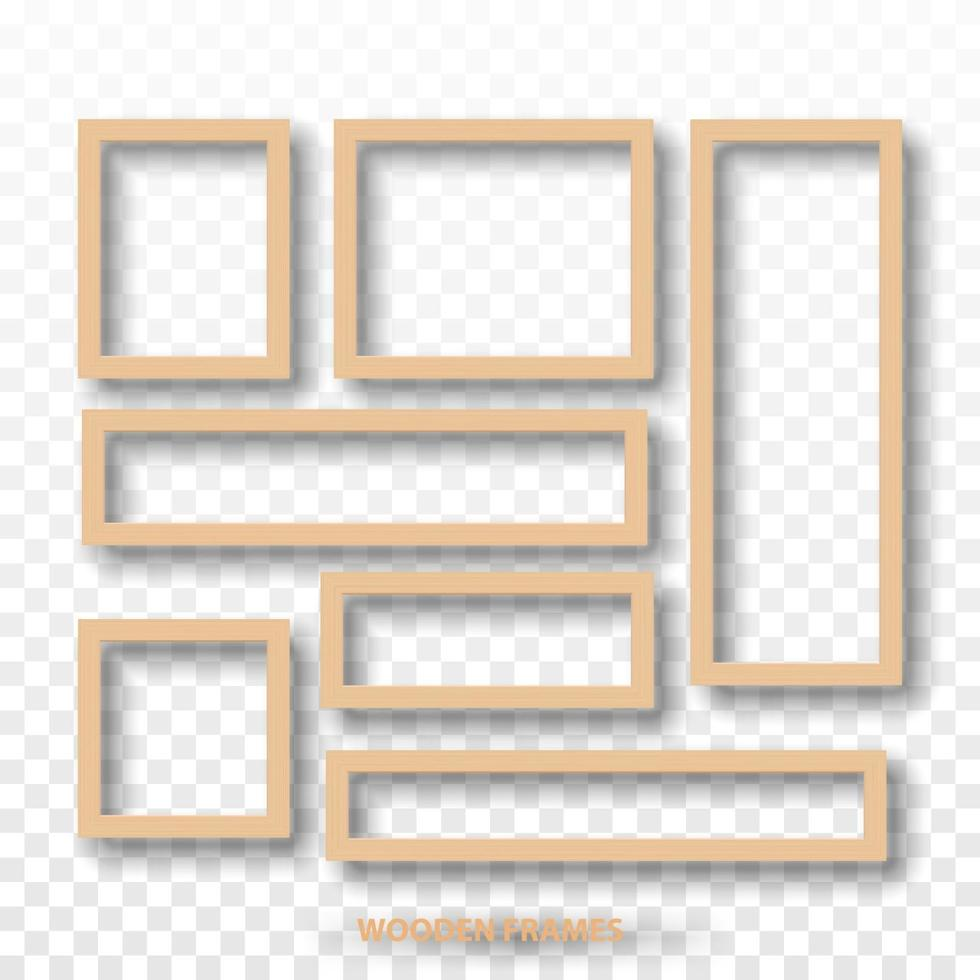 marcos en blanco de madera aislados, ilustración vectorial vector