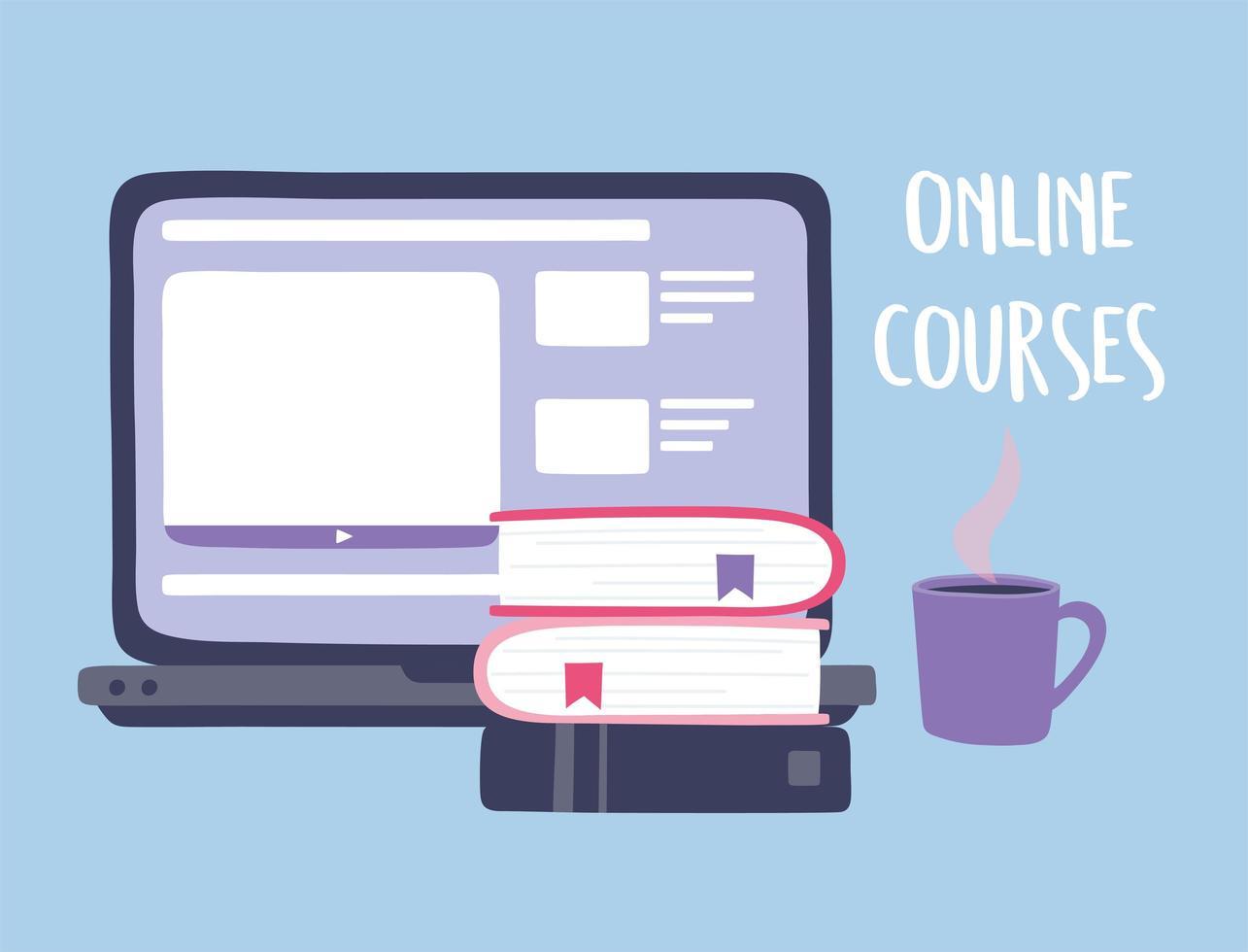 cursos online con computadora vector