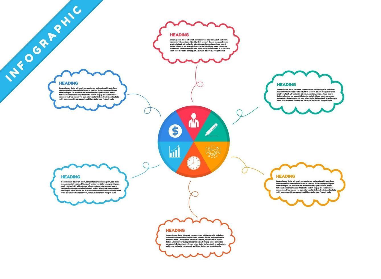 infografía con coloridos iconos y burbujas de mapas mentales vector
