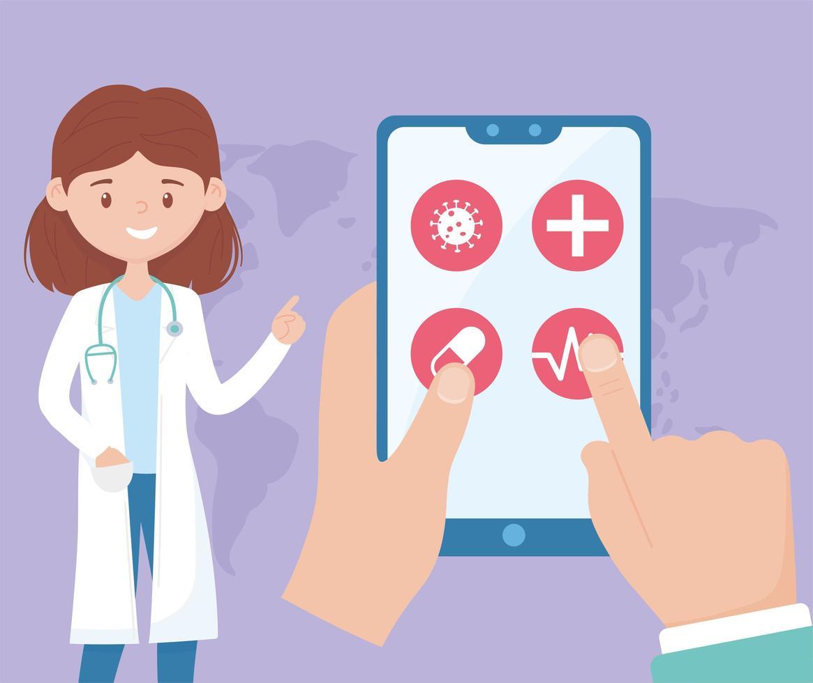 atención en línea con médico en el teléfono inteligente vector