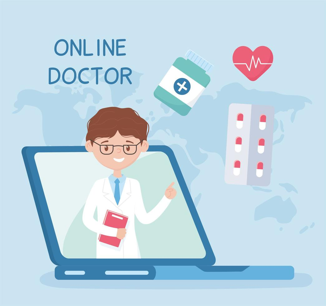 atención en línea con médico en la computadora portátil vector